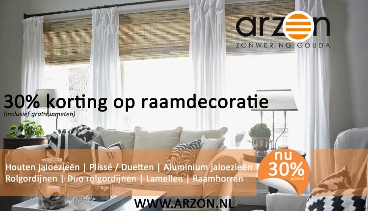 Arzon-Actie-Q3-2017 Raamdecoratie 30% korting(inclusief gratis inmeten)